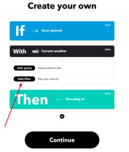 Screenshot of IFTTT process showing Add Filter button